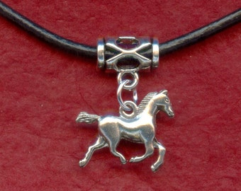 Horse Necklace - Silver Plated Horse necklace on Leather