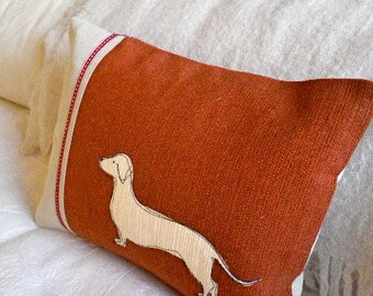 hand printed red daschund cushion