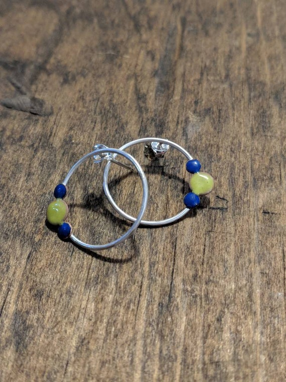 Sterling silver and enamel earrings- blue and green