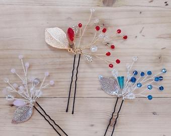 Wedding Hair Pins Sets,Bridal Hair Accessories, Gold Bridal Hair Pins, Bridal Headpieces, Wedding hair clips, Gold Leaf, Silver Leaf