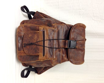 Leather backpack,XLarge, Brown, Genuine Leather, Backpack, Shoulder Bag