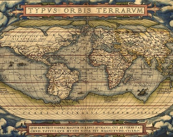 Old world map 18th century download scan of an old original old world map 16th century download scan of an old original map of the world instant download high resolution jpg item no 82 gumiabroncs Image collections