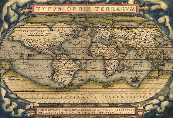 Old world map 16th century download scan of an old original map old world map 16th century download scan of an old original map of the world instant download high resolution jpg item no 82 from instantprintable on gumiabroncs Gallery