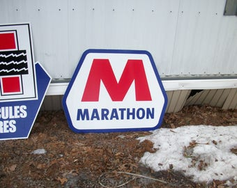 Marathon Gasoline metal sign 23x15 inch