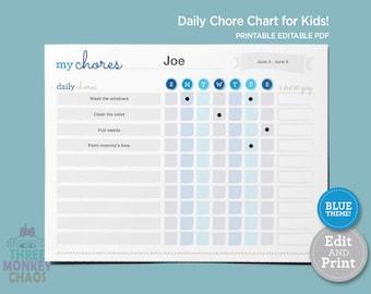Blue - Chore Chart for Kids | Weekly Chores | Daily Job Chart | Kids Rewards Chart | Responsibilities Checklist | Editable PDF Download