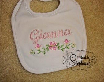 Personalized embroidered name pink floral border with name baby girl plain or ruffled bib