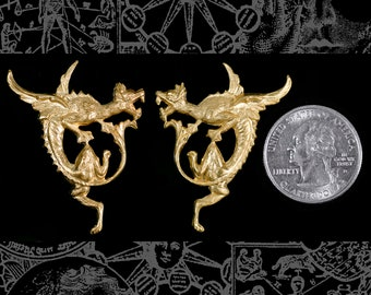 Flying Dragon Pendants Stampings One Pair of Dragons  * B-P77