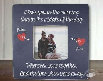 Personalized Long Distance Relationship Picture Frame Boyfriend Gift Girlfriend Gift Deployment Gift I Love You In The Morning IBFSLOVE