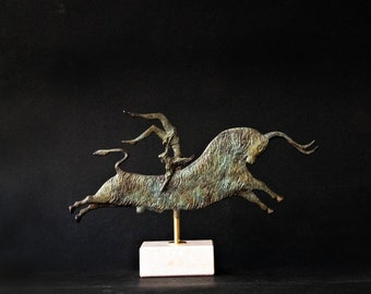 Greek Minoan Sculpture, Bull in Leap, Metal Art Sculpture, Bronze Sculpture, Museum Quality Art, Greek Art, Ancient Greece, Crete
