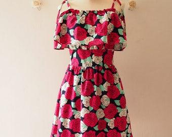50% OFF Sale Rose Queen Straps Drop Shoulder Dress Floral Summer Dress Date Dinner Party Holiday Dress Floral Sundress  -Size S-M (US4-8)