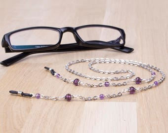 Amethyst glasses chain - gemstone and purple bead eyeglass cord | Eyeglasses lanyard neck chain | Silver spectacle chain | Eyewear holder
