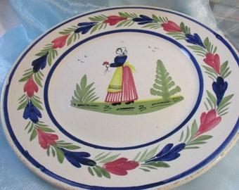 """H.B. Quimper Plate, Made in France, Blue Trim,"""" Breton Lady"""""""