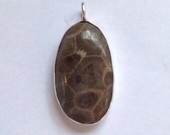 Dark Petoskey Stone Pendant