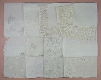 Vintage Hanky Lot,Wedding Hanky Lot,One Dozen White Wedding Vintage Hankies Handkerchiefs (Lot #88)
