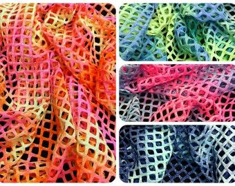 Tie-dye Pattern w/ Silver Glitter Polyester Spandex Stretch Big Hole 0.5 Inch Diamond Mesh Fabric - 56 Inches Wide - By the Yard or Bulk
