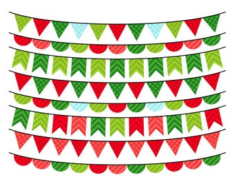 Christmas Bunting Clipart - Christmas Clip Art - Holiday Bunting Clipart - Commercial Use - Instant Download