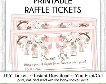 Diaper Raffle Tickets, Birdcage Printable Diaper Raffle Tickets, Sweet Peach Baby Shower Raffle Tickets, YOU PRINT, DIY