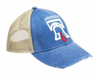Embroidered Philadelphia 1976 Retro Pigment Dyed Distressed Embroidered Trucker Hat