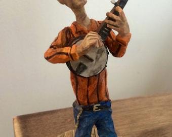 Handmade Stringbean Figurine - Banjo Player