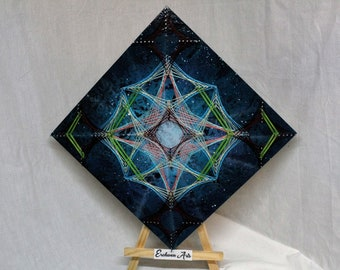 Galactic Web String Art - Original and Handmade Design - Psychedelic - Wall Decor - Plaque - Nail