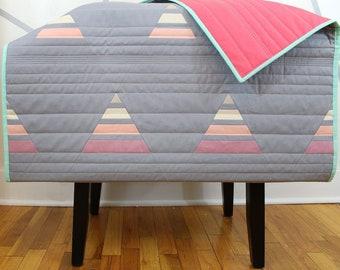 "Handmade Modern Baby Quilt - ""Sweet Sunset"""