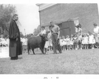 "Vintage Snapshot ""Grade School Pageant"" 1960's Blessing Of The Steer Priest Found Vernacular Photo"