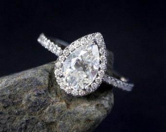 Forever One Pear Moissanite Diamond Halo Engagement Ring - 14kt White Gold - Handmade