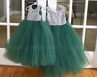 Emerald Green Flower Girl Dress Hunter Green and Silver Sequins Tulle Dress Dark Green Tutu Dress Forest Green Junior Bridesmaid