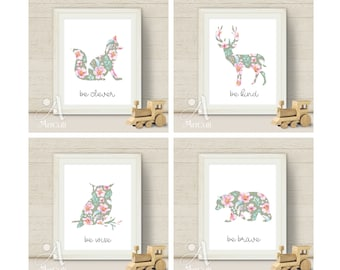 Four Printable digital artworks Be Brave, Be Kind, Be Clever, Be Wise print-it-yourself inspirational art for Nursery decoration by ArtCult