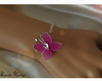 Bracelet swarovski pearls and fuchsia Butterfly