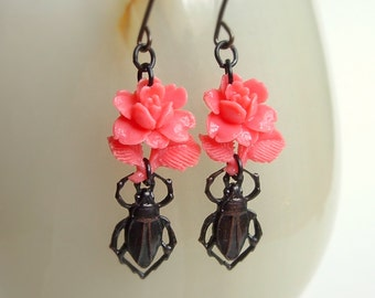 Pink Rose Beetle Insect Earrings Black Brass Vintage Pink Flower Earrings Insect Beetle Jewelry Pink Rose