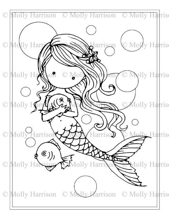 Ingenio de sirena peces y burbujas - página para colorear - para ...