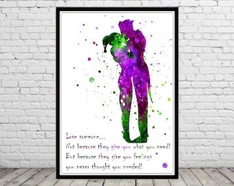 Harley Quinn and Joker inspired, Harley Quinn and Joker quote, Watercolor Print,Super Hero, Wall Art,Poster, kids Room decor(962b)