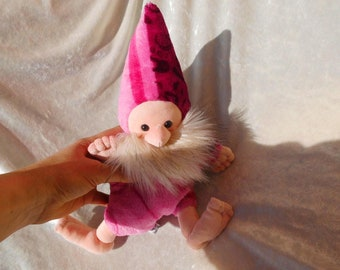 Barefoot Dwarf plushie Pink Gnome Therapy Doll Nursery decor plush Handmade sprite wise wizzard with beard unique handmade dwarf pink ooak