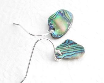 Paua Shell Earrings, Mini Abalone Rainbows, Beachy Earrings, Beach Wedding Jewelry