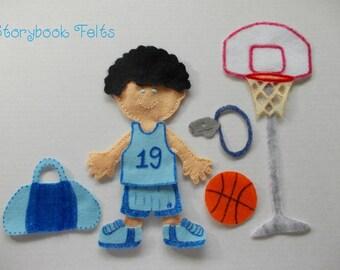 SHOP CLOSING SALE - Felt Doll Outfit Basketball Star Boy Felt Doll Dress Up Set Without Felt Doll Non Paper Doll Paper Doll