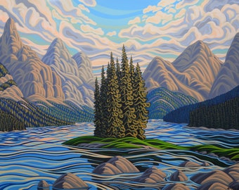 Spirit Island 36X48, Original Painting, Canadian Artist, Ready to Hang, Gallery Canvas