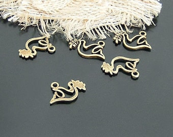 10 charms bird / Dove of peace bronze metal