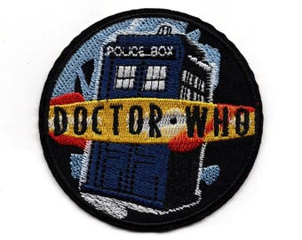 Dr. Who Tardis patch - iron-on 3 inch patch