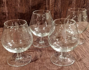 Set of 4 Princess House Heritage crystal brandy snifter glasses, free shipping