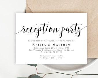 Reception Invitation Etsy - Party invitation template: elopement party invitation template