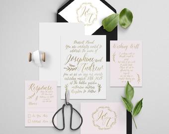calligraphy wedding invitation mystique foil printable diy