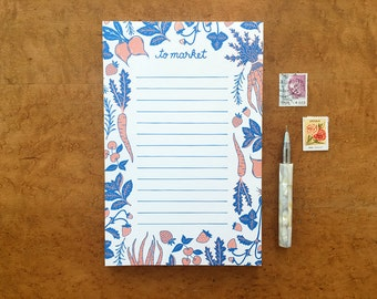 Veggie Notepad, Vegetables and Fruits, 5.5 x 8.5 To Market Pad