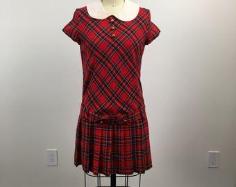 Vintage 1960s Red Tartan Mini Dress Fiddlesticks Mini Dress Size Small