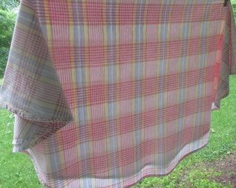 """Round Vintage Plaid Cotton Tablecloth - Pastel Plaid Tablecloth - Round Cotton Tablecloth - 56"""" Across - Baby Shower"""