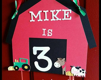 Farm/ Barnyard Party  Door Sign First Birthday Party Sign
