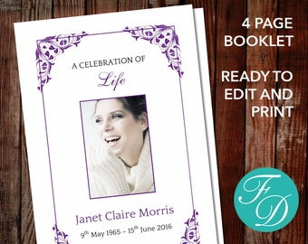 Funeral program template, order of service, memorial programs, memorial service (Flora purple)