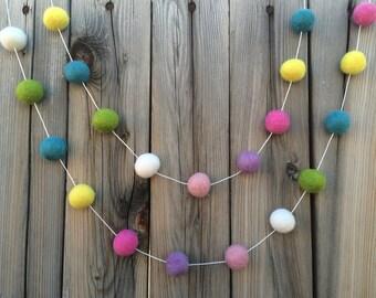 Spring Easter Felt Ball Garland, Pom Pom Garland, Nursery Decor, Bunting Banner, Party Decor, Baby Shower, Playroom decor, Girls bedroom