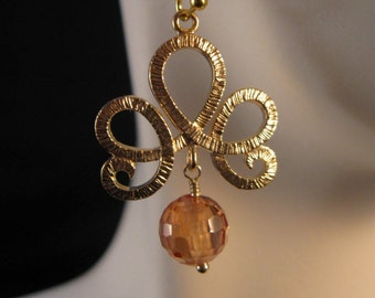 Gold Filigree Earrings, tiara filigree, gold filigree, cz earrings, cubic zirconia, drop  earrings, dangle earrings, cz