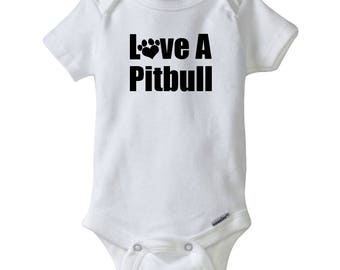 Love A Pitbull Gerber® Onesie®.  Pitbull Bodysuit.  Pit Bull Baby Shower Gift.  Personalized baby clothes.